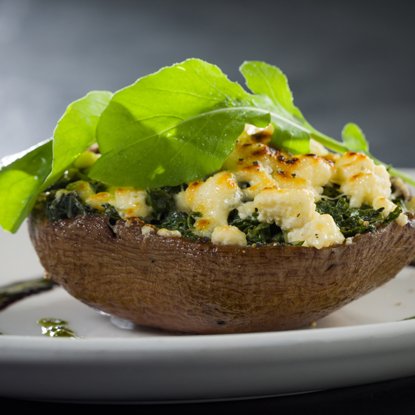 Large Black Mushrooms with Spinach and Feta
