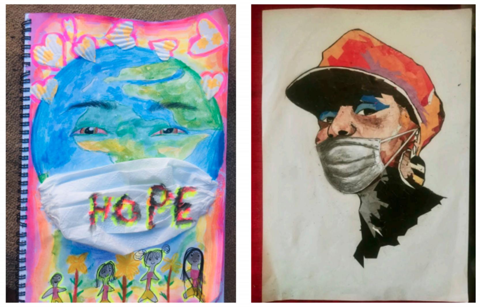 Artworks by Zanele Mhlakaza (Lalela Masiphumelele programme) and Shammah K Kaseke (Lalela Maboneng programme).