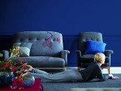 Moody Blue Wall - Hot Terracotta Table