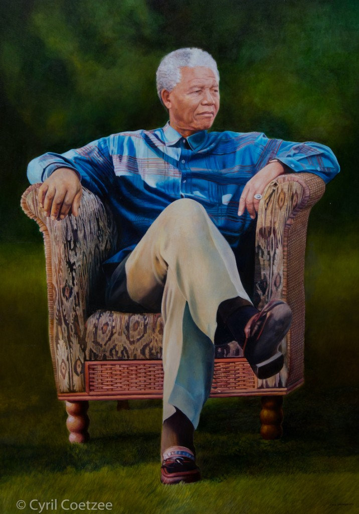 Oil Painting of President Nelson Mandela - Schaefer Collection Germany - by Cyril Coetzee Portrait Artist copy